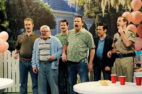"Saturday Night Live - Season 38 - ""Ben Affleck"" - Bill Hader, Bobby Moynihan, Taran Killam, Ben Affleck, Fred Armisen and Jason Sudeikis"