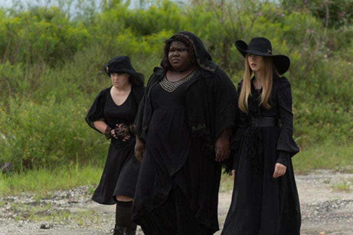 "American Horror Story: Coven - ""Burn, Witch, Burn"" - Jamie Brewer as Nan, Gabourey Sidibe as Queenie, Taissa Farmiga as Zoe"