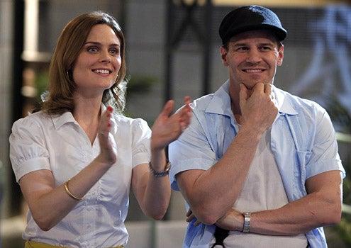 """Bones - Season 4 - """"The End in the Beginning"""" - Emily Deschanel as Brennan and David Boreanaz as Booth"""