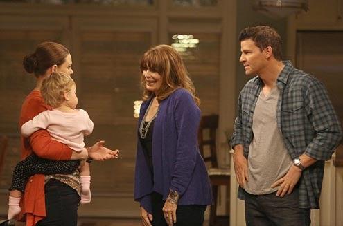 "Bones - Season 8 - ""The Party in the Pants"" - Emily Deschanel, Joanna Cassidy, David Boreanaz"