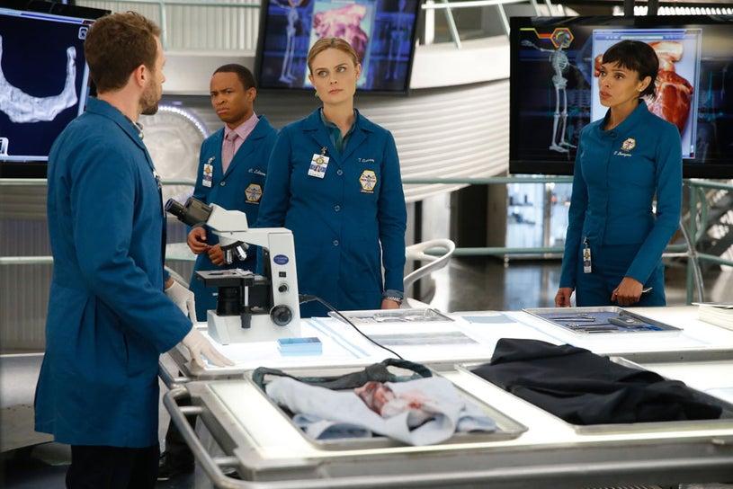 "Bones - Season 10 - ""The Lance to the Heart"" - TJ Thyne, Eugene Byrd, Emily Deschanel, Tamara Taylor"