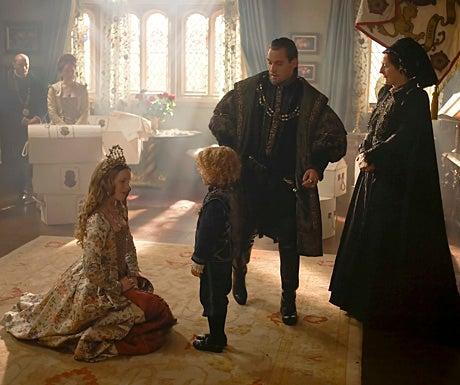 The Tudors - Season 4 - Tamzin Merchant as Katherine Howard, Eoin Murtagh as Prince Edward, Jonathan Rhys Meyers as Henry VIII, and Jane Brennan as Lady Bryant
