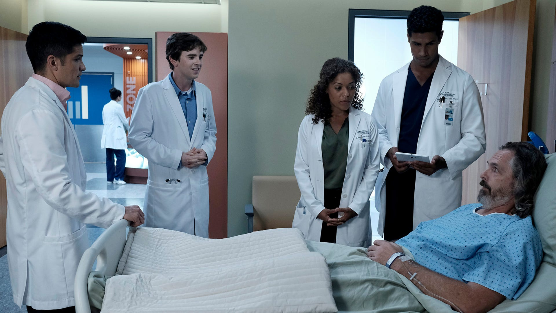 Nicholas Gonzalez, Freddie Highmore, Antonia Thomas, Chuku Modu and Rocky Anderson, The Good Doctor