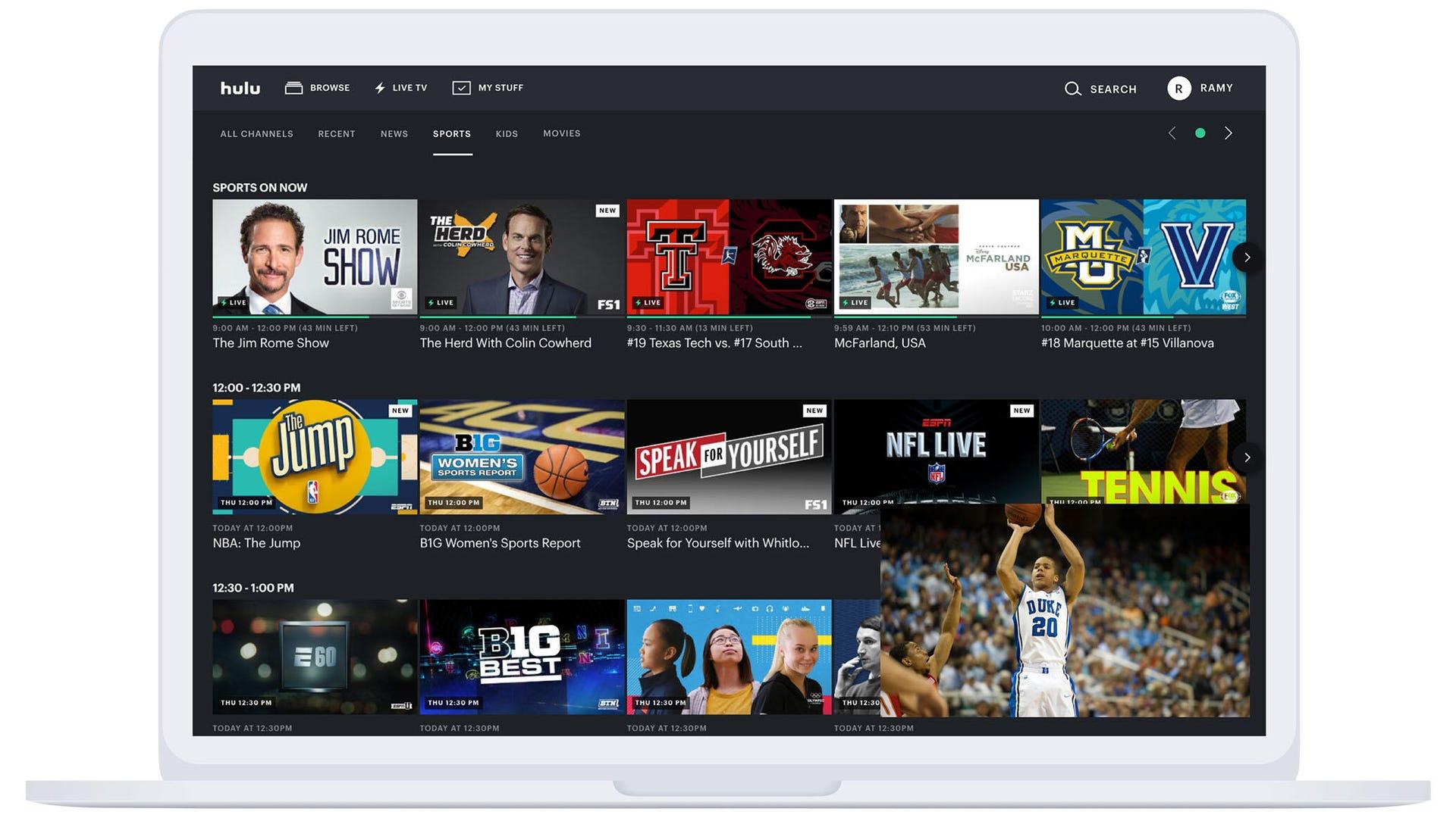 Hulu live sports page on a laptop