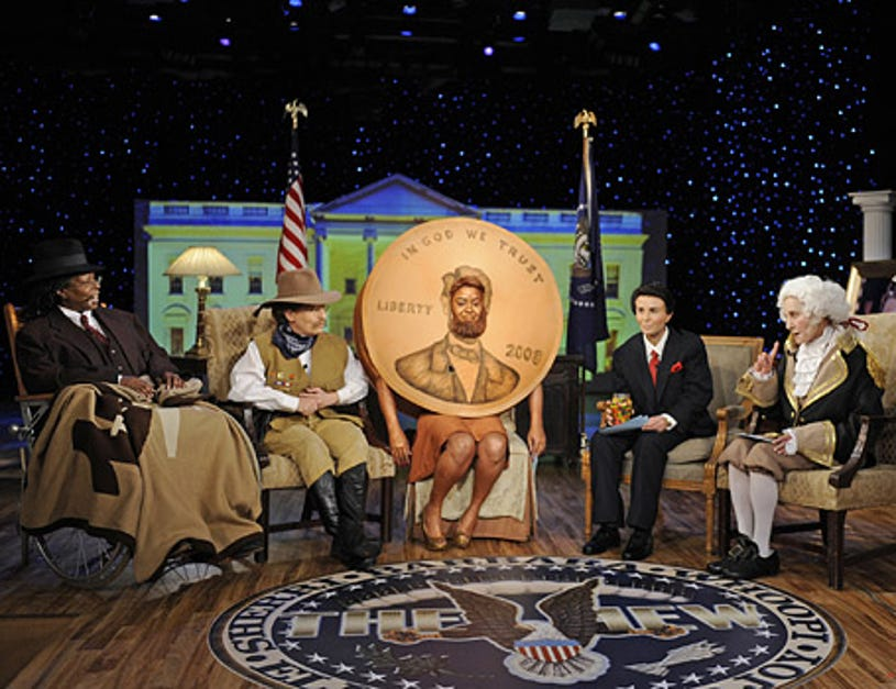 The View -  Halloween in grand 'Red, White and View' style as Barbara, Whoopi, Joy, Sherri and Elisabeth dress as former Presidents of the United States. Whoopi as Franklin D. Roosevelt, Joy Behar as Theodore Roosevelt, Sherri Shepherd as Abraham Lincoln on the copper penny, Elisabeth Hasselbeck as Ronald W. Reagan and Barbara Walters as George Washington