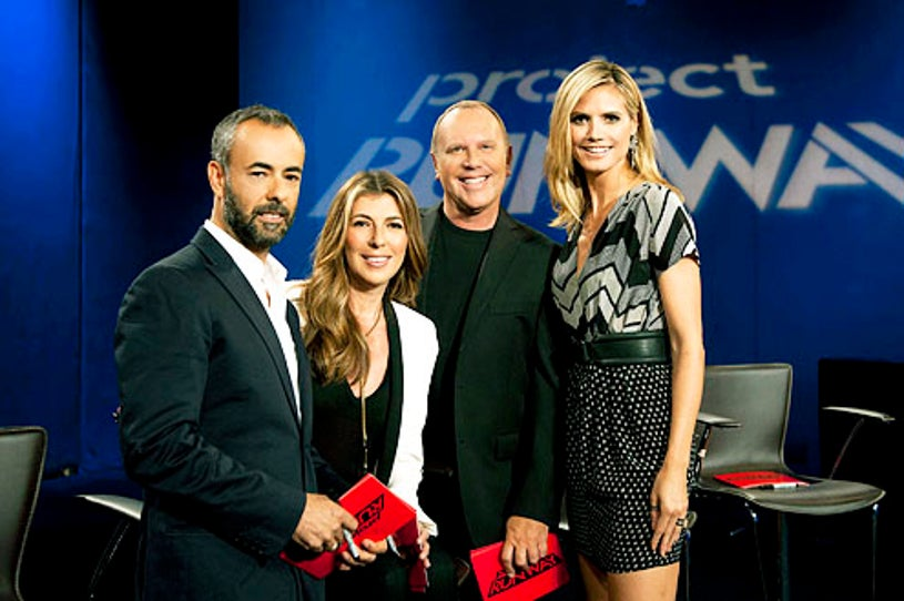 """Project Runway - Season 9 -  """"This Is for the Birds"""" - Francisco Costa guest judges with Nina Garcia, Michael Kors and Heidi Klum"""