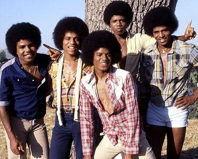 Tito Jackson, Jermaine Jackson, Michael Jackson, Marlon Jackson and Jackie Jackson - publicity photo at the Jackson family home, Los Angeles, August 17, 1978