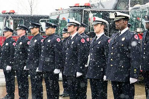 """Chicago Fire - Season 1 - """"A Coffin That Small"""" - Randy Flagler, William Smillie, Charlie Barnett, Joe Minoso, Taylor Kinney, Jesse Spencer and Eamonn Walker"""