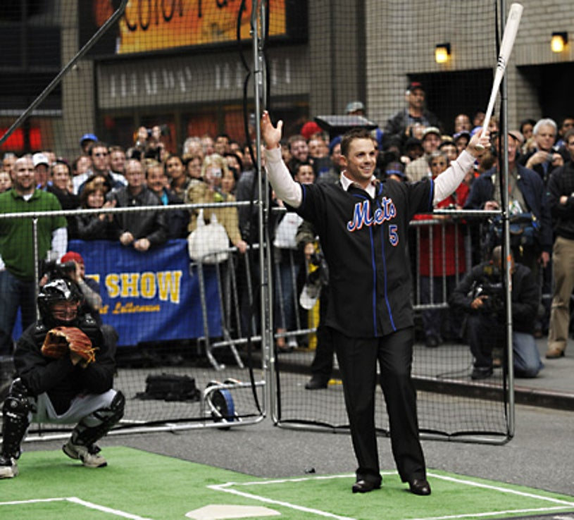 The Late Show with David Letterman - New York Mets star David Wright hits baseballs pitched by CBS Late Show Host David Letterman on 53rd Street outside the Ed Sullivan Theater in New York City. - April 14, 2008
