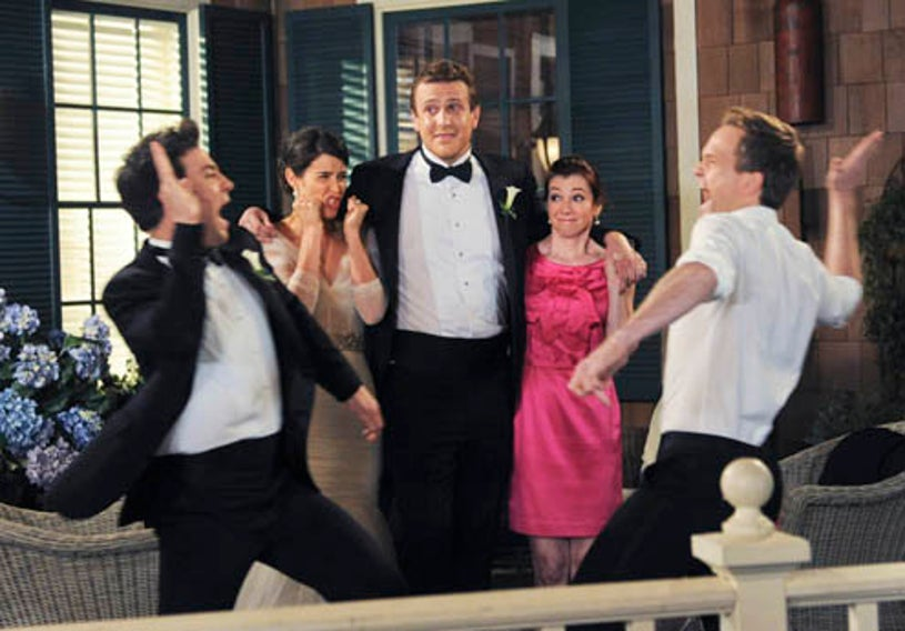 """How I Met Your Mother - Season 9 - """"Last Forever Parts One and Two"""" - Josh Radnor as Ted, Cobie Smulders as Robin, Jason Segel as Marshall, Alyson Hannigan as Lily, and Neil Patrick Harris as Barney"""