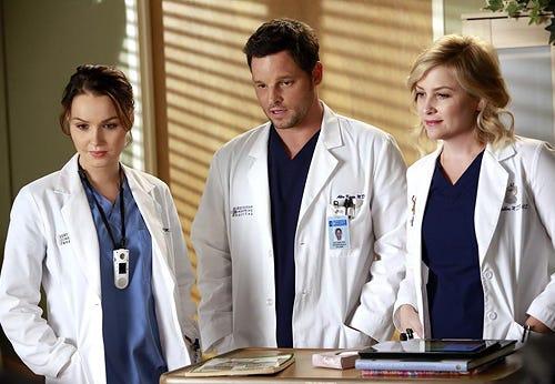 "Grey's Anatomy - Season 10 - ""Throwing It All Away"" - Camilla Luddington, Justin Chambers, Jessica Capshaw"