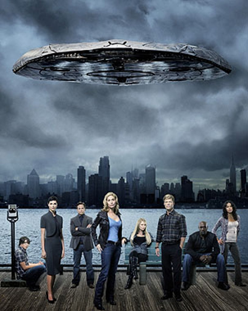 "V - Season 1 - ""Welcome to the War"" - Logan Huffman as Tyler Evans, Morena Baccarin as Anna, Scott Wolf as Chad Decker, Elizabeth Mitchell as Erica Evans, Laura Vandervoort as Lisa, Joel Gretsch as Father Jack, Morris Chestnut as Ryan Nichols and Lourdes Benedicto as Valerie"