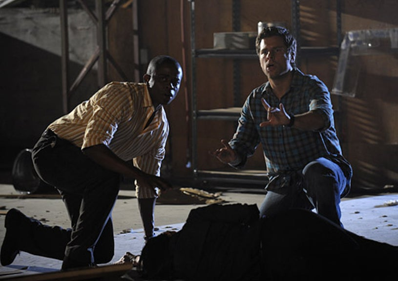 "Psych - Season 3 - ""Earth, Wind and...Wait for It"" - Dule Hill as Gus Guster and James Roday as Shawn Spencer"